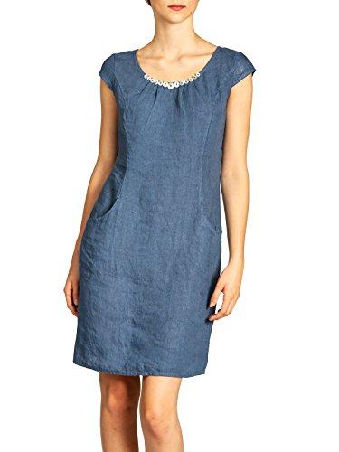 Caspar SKL018 knielanges Damen Sommer Leinenkleid mit Perlmutt Knöpfe Dekor, Farbe:Jeans blau, Größe:L - DE40 UK12 IT44 ES42 US10