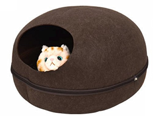 PLATA キャットハウス 2WAY フェルトポッド オールシーズン対応 猫ベッド お昼寝 ベッド ドーム型 Cat House 中を覗ける 可愛い小窓付 【 Lサイズ ブラウン 】