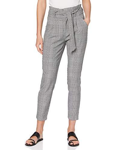 Vero Moda Vmeva HR Loose Paperbag Check Pant Noos Pantalón, Gris, 34 (Extra Large) para Mujer