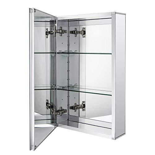 Fundin Espejo de baño de aluminio para empotrar o montaje en superficie, con puerta de espejo de doble cara sin marco, 38 x 61 cm