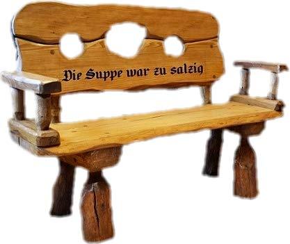 Mittelalterlich Pranger aus Massivholz mit Lasergravur von Ihrem Wunschtext   Holzbank aus Tannen- und Eichenholz