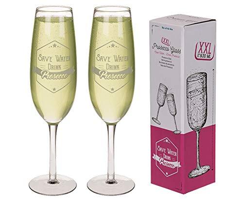 Ideal Trend 2X Riesen Sektglas 850ml 34cm Champagnerglas Safe Water Drink Prosecco Sekt Glas