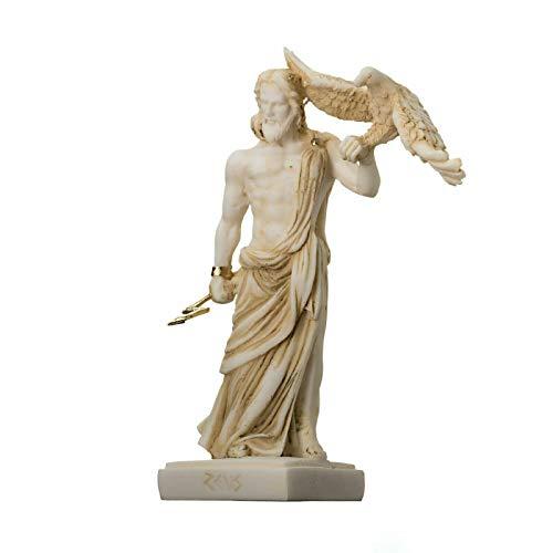 """Zeus Greek God Jupiter Thunder Statue Figurine Gold Alabaster 6.3"""""""