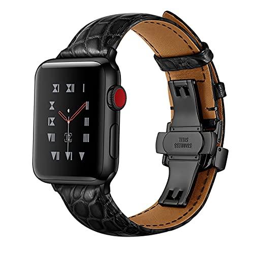 Correa Reloj para Apple Watch Series 1/2/3/4/5/6/SE, Compatibilidad iWatch 38mm 40mm/42mm 44mm con Hebilla de Acero Inoxidable, Cocodrilo Cuero Genuino Correa de Reloj,B,Black,42mm/44mm