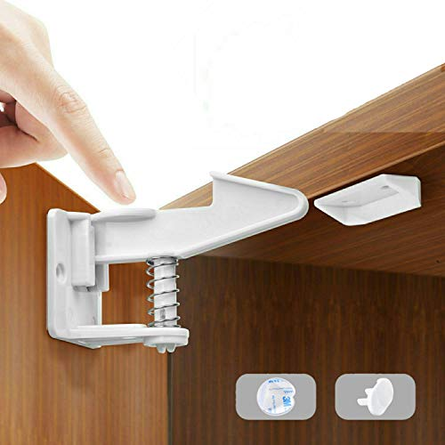 Mybabyly Baby Proofing Cabinet Locks – 12 pcs No Drill Baby Proofing Locks for Cabinets and Drawers with 4 Corner Protectors and 2 Covers – Adhesive Baby Cabinet Safety Latches - White