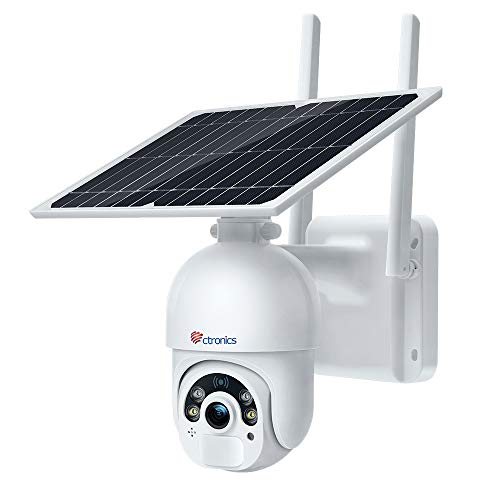 Ctronics Überwachungskamera Aussen 14400mAh Akku, 100% Kabellos PTZ Kamera mit Solarpanel, WLAN IP Kamera Outdoor, PIR und Radar Erkennung, 2,4GHz WiFi, Farb-Nachtsicht, 2-Wege-Audio, SD-Kartenslot