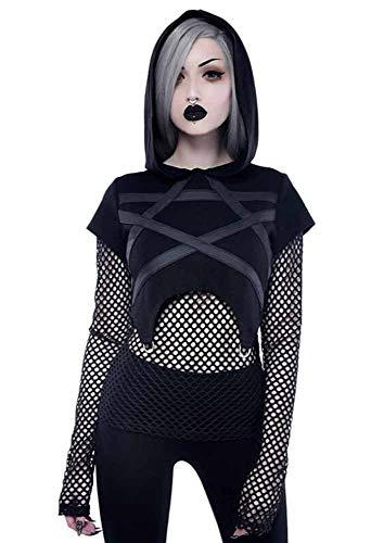 Hellomiko Sudaderas con Capucha Huecas Punk para Mujer Vendaje Tops Cortos de Metal Sudaderas con Capucha para niñas góticas