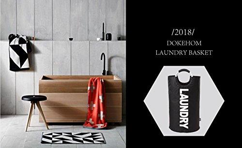 DOKEHOM 82L Large Laundry Basket (6 Colors), Collapsible Fabric Laundry Hamper, Foldable Clothes Bag, Folding Washing Bin (Black, L)