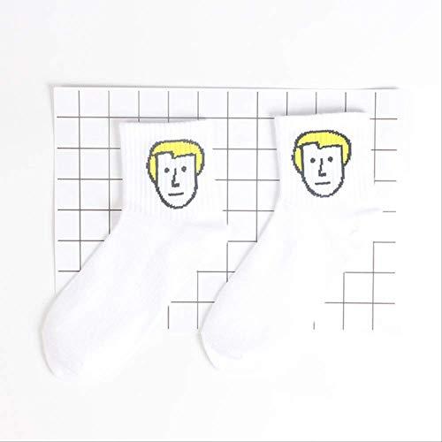 YMKXXB Socken Niedliche Emoji Gemusterte Socken Frauen Cartoon Brief Baumwolle Kühle Kurze Socken Hipster Lustige Socken Weibliche Sox H