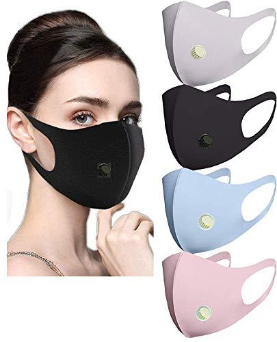 Gesichtsbedeckung aus Stoff, 4 Stück, schwarz, grau, rosa, blau.