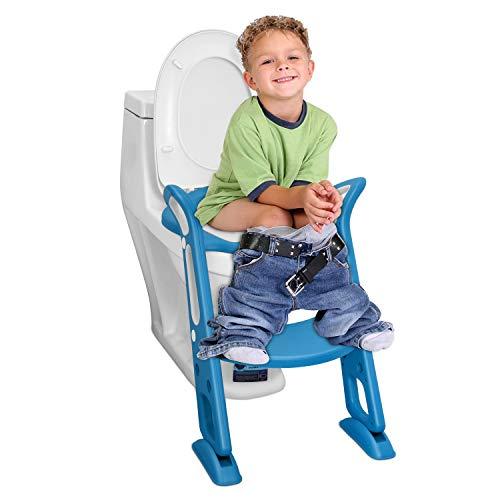 補助便座 子供, Kennifer トイレトレーナートイレトレーニング 補助便座 おまる PUパッド,尿がしぶき防止 折りたたみ 取外し可能 ステップ式 ベビー 踏み台 (青い)