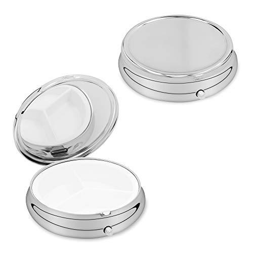 kwmobile 3 compartiment pillendoos – set van 2x roestvrijstalen reisdoos organizer voor tablets en recepten – zilver