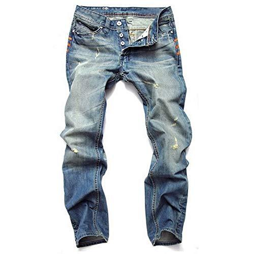 Beastle Jeans para Hombres Personalidad Retro Pantalones Vaqueros Casuales Rasgados Moda Botón Delgado Recto Jeans Europeos y Americanos 35