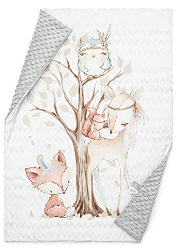 EliMeli BABYDECKE Kuscheldecke Krabbeldecke Premium Babybettwäsche Baumwolle super weichem Minky Polar Fleece Füllung 75x100 beste Qualität Öko-Tex-Zertifikat Made in EUROPE (Grey - Forest Friends II)