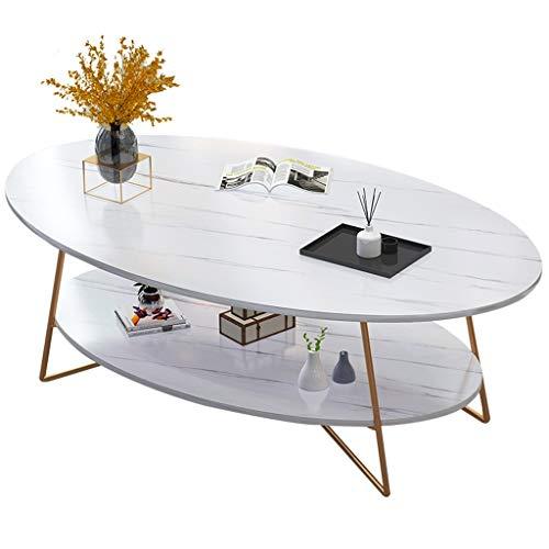 YDDQ Kleiner Wohnzimmertisch Kleiner Couchtisch Moderner Ovaler Hölzerner Couchtisch Wohnzimmer Weißer Schreibtisch Niedriger 2 Reihen-Beistelltisch Einfach Bauen Sie 120 * 60 * 41cm Zusammen -1.04