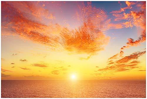 Wallario Glasbild Sonnenuntergang über dem Meer - rote Wolken & Blauer Himmel - 60 x 90 cm in Premium-Qualität: Brillante Farben, freischwebende Optik