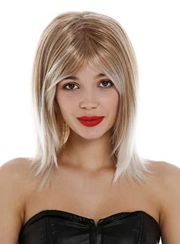 WIG ME UP - GFW2472-27T60 Perruque pour dames courte longueur d'épaules lisse carré long blond dégradé blond platine pointes