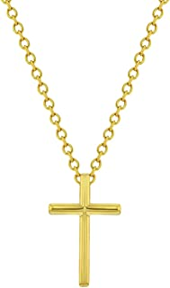 """925 Sterling Silver 16"""" Plain Unisex Cross Necklace for Kids - Perfect Religious Pendant & Chain with Unique Classic Cross..."""