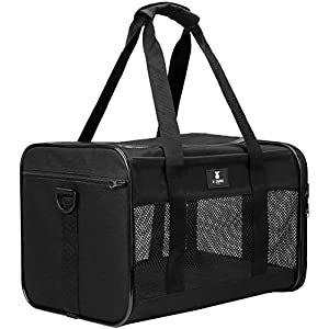X-ZONE PET Airline Approved Soft-Sided Pet Travel Carrier for Dogs and Cats, Medium Cats Small Cats Carrier,Dog Carrier for Small Dogs, Portable Pet Travel Carrier,Black