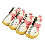 GOWINEU Zapatos de Perro pequeños Botas de Deporte de Invierno Zapatos Transpirables Antideslizantes de PU Diseño de Cremallera Zapatos de Lluvia Pitbull para Cachorros de Perro