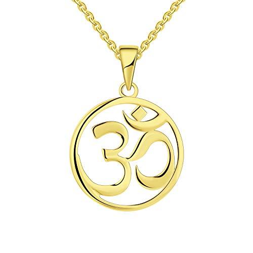 JO WISDOM Collares Colgante Om Aum Ohm Yoga Indio Plata de ley 925 Mujer Joyería con baño de oro amarillo
