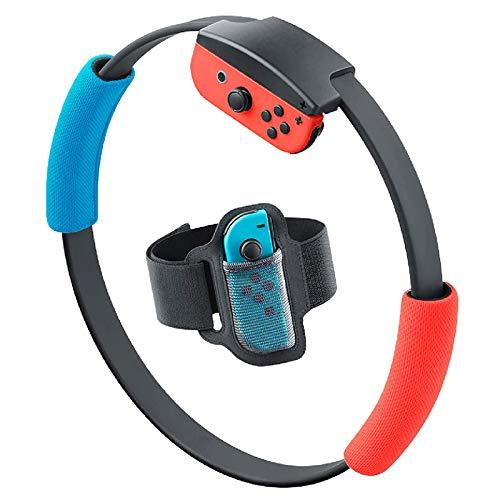 Faxiang Fitness Ring mit Schalter für NS Ring Fitness mit verstellbarem elastischem Band Sport Band für Nintendo Switch NS Joycon eingebauter IR Bewegungsmelder