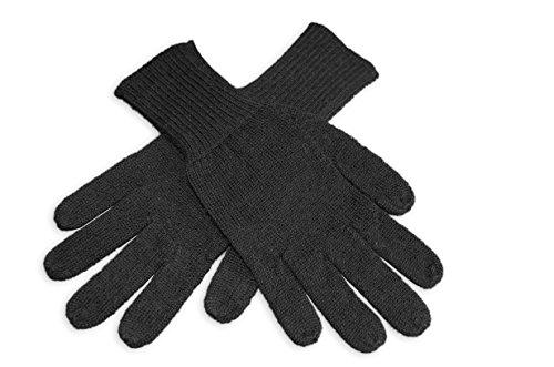 Posh Gear Alpaka Handschuhe Guantino Fingerhandschuhe Damen Herren aus 100% Alpakawolle, schwarz, Größe L