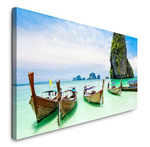 Paul Sinus Art GmbH Ruderboote in Thailand 120x 50cm Panorama Leinwand Bild XXL Format Wandbilder Wohnzimmer Wohnung Deko Kunstdrucke