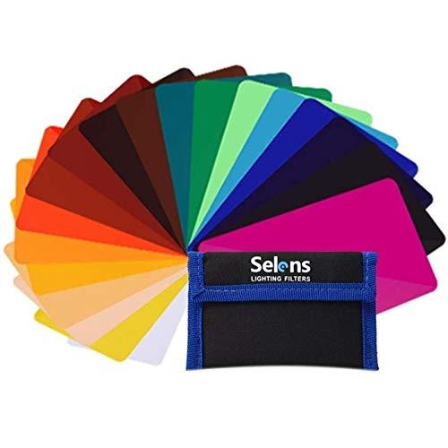 Selens 20 Piezas Filtro de Iluminación de Gel Universal para Videocámaras Luz de Flash de Video LED 9,5x6,5cm Película de Iluminación de Corrección de Color Transparente Láminas de Plástico
