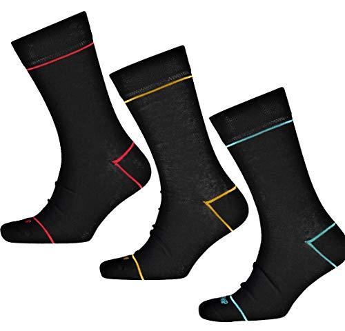 Duchamp London Herren Socken-Set, Schwarz, 3er-Pack, Größe 41-46/US 8-12