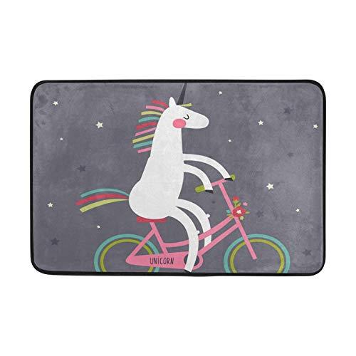 für Wohnzimmer Home Schlafzimmer Dekorative 23,6x15,7 Zoll Teppiche Tier Niedliche Einhorn Bikr Fahrrad rutschfeste Teppich Bodenmatte Fußmatten