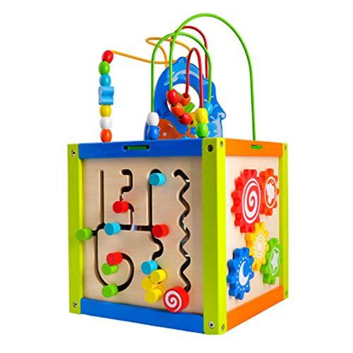 Laberinto de Perlas Actividad de madera Play Cube por juguete de rompecabezas de aprendizaje de madera para niños pequeños Conforme Forma Mazas Mazas Bolas de madera Forma Bloques de clasificación y m