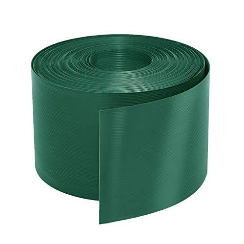 Sekey Sichtschutzstreifen, hartes PVC, Sichtschutz, für doppelten Maschendrahtzaun, undurchsichtiger und wetterfester, lichtbeständiger Windschutz, Grün, 19 cm (Höhe) x 25 m (Länge)