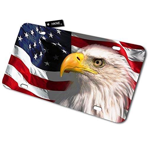 HKNE American Eagle Patriotic License Plate 12'x6' Standard Size Novelty Vanity Decorative Car Front License Plate,Metal Car Plate Tag