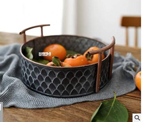 Roselife-Antique Iron Storage Basket, Making Old Technology Double Ear Iron Barrel, Fruit Dessert Bread Basket, Kitchen Storage Basket, Fruit Bowl, Metal Storage Basket, Metal Display Bowl (Gray)