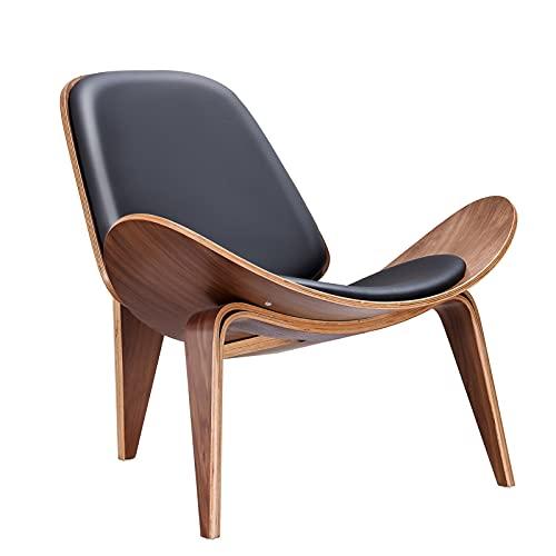 SHUJINGNCE Black Walnut Replica Lounge Shell Silla Nordic Creative Simple Designer Suela Silla Silla Silla Silla Avión Silla