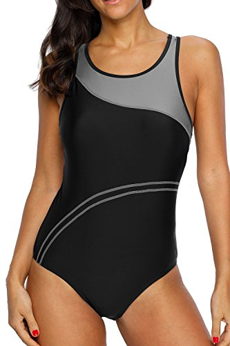 beautyin Womens Swimming Suit One Piece Sport Swimsuit Racerback Bathing Suit,Gray,Large