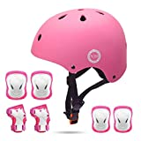 XJD ヘルメット こども用 キッズプロテクターセット 調節可能 軽量 高剛性 通気性 スケボー サイクリング 保護用 子供 自転車 プロテクター 巾着袋付き (ピンク, S:48~54cm)