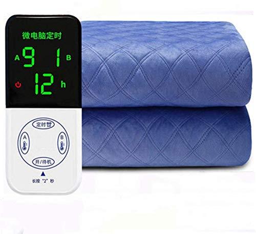 Elektrische dubbele verwarmingsdeken, 9 warmtestanden, opwarmen throw blanket, dubbele snelle verwarming, intelligente controle, automatische beveiliging tegen oververhitting van het systeem. 1.8*1.5m Blauw