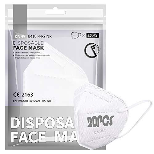 [20 PCS] F FiGoal FFP2 / KN95-Gesichtsmaske, 5-Lagen-Schutzmaske FFP2 CE-Zertifiziert Hohe Filtrationskapazität Größe M/L Weiß