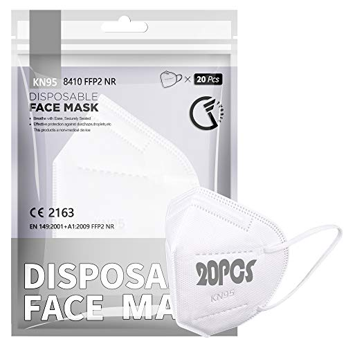 [20 PCS] Maschera facciale FFP2 / KN95, maschera FFP2 protettiva a 5 strati Certificata CE Alta capacità di filtrazione Taglia M / L Bianco