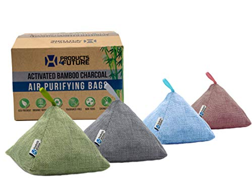 4 Pack of 200g Naturally Activated Bamboo Charcoal Air Purify Bags | Natural Home Deodorizer Bags | Organic, Eco Friendly & Chemical Free | Odor Eliminator & Moisture Absorber Freshener Bags