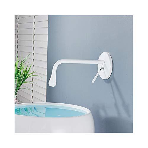 HNBMC Grifo baño, Mural empotrada Grifería, Color 4 360 Rotación Boquilla de latón Grifo del Fregadero de Mezclador del Lavabo Grifo,Blanco