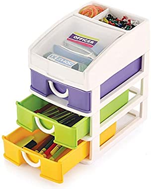 CBOX Plastic Officer Multipurpose Modular 4 Layer Drawer Chest Cabinet Organizer for Home, Official, Kids Room Table Top ( Mu