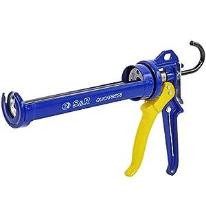 S&R Pistola de silicona profesional para cartuchos de hasta 310 ml. Marco giratorio de acero. Relación de empuje 18:1, Calidad Profesional