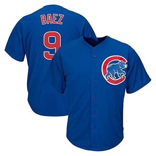 Baez Baseball Shirt Chicago Cubs # 9, Herren Druck Baseball Trikot, Kurzarm Game Team Uniform Button Top (M-XXXL)-White-XXL