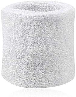 1 Pcs Sport Wrist Cotton Sweat Wristband Tennis Basketball Volley Sports Bodybuilding Wristband Men&Women Gym Strap white