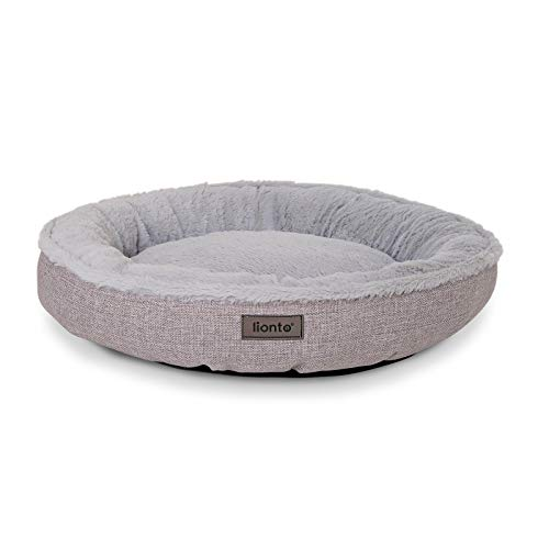 Cama Redonda para Perros cojín para Perros sofá Perros Cama con Forma de Donut (S) 55 cm Ø diámetro Externo Gris