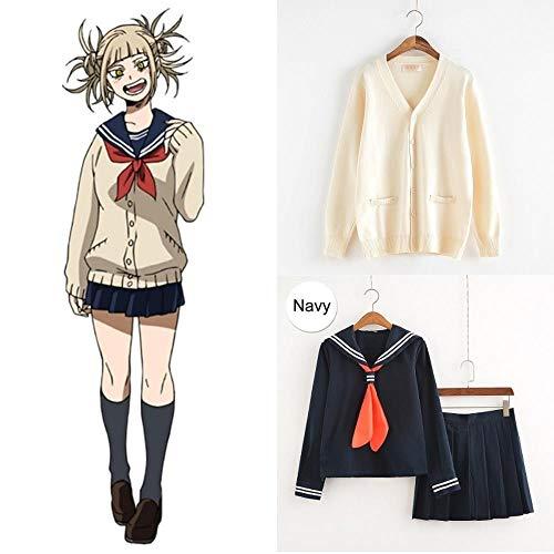 hengGuKeJiYo My Hero Academia Cosplay Disfraz Anime Cosplay Boku no Hero Academia Himiko Toga JK Uniforme Mujeres Trajes de Marinero con suéteres