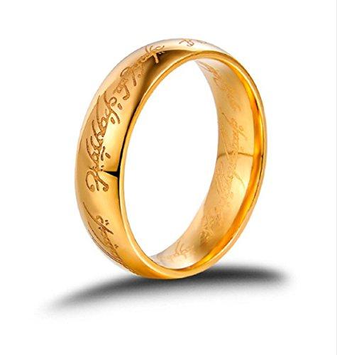 GOWE Anillo de oro amarillo macizo de 18 quilates con el señor de los anillos para hombres y mujeres.